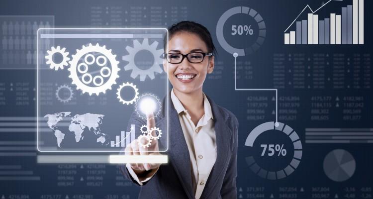 Business woman touching virtual screen